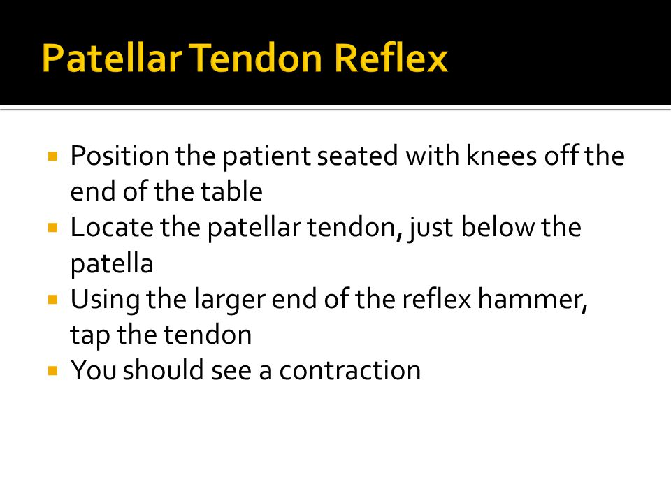  Position the patient seated with knees off the end of the table  Locate the patellar tendon, just below the patella  Using the larger end of the reflex hammer, tap the tendon  You should see a contraction