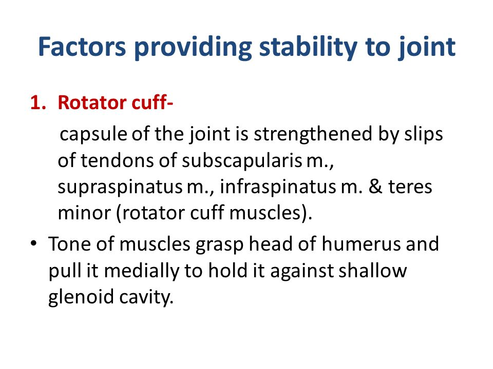 Factors providing stability to joint 1.Rotator cuff- capsule of the joint is strengthened by slips of tendons of subscapularis m., supraspinatus m., i