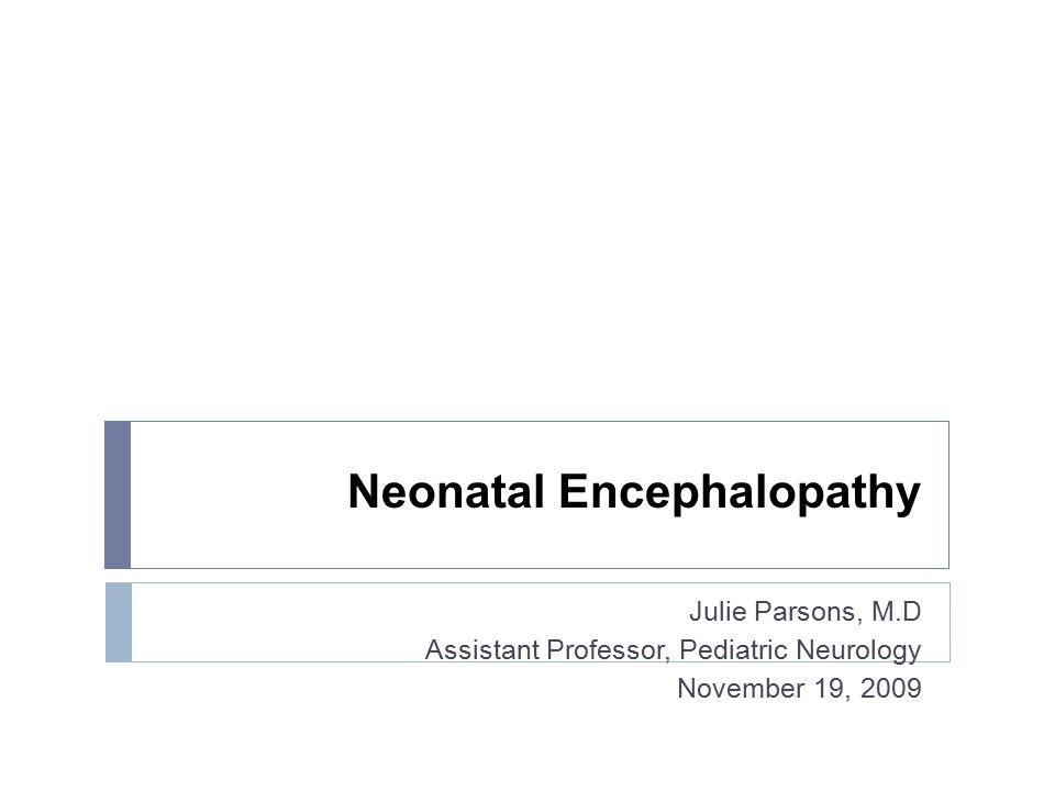 Neonatal Encephalopathy Julie Parsons, M.D Assistant Professor, Pediatric Neurology November 19, 2009