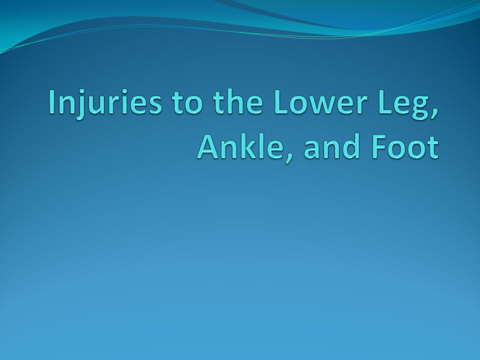 Injuries to the Lower Leg, Ankle, and Foot… For an athlete to move well, there must be excellent functioning of the lower leg, ankle, and foot The foot must provide a stable base of support and as the same time be flexible and extremely mobile This chapter discusses the skeletal and muscular anatomy of the foot and lower leg We will discuss: Ligaments of the ankle, compartments of the lower leg, muscular actions of each compartment Fractures as well as common sprains of ankle ligaments
