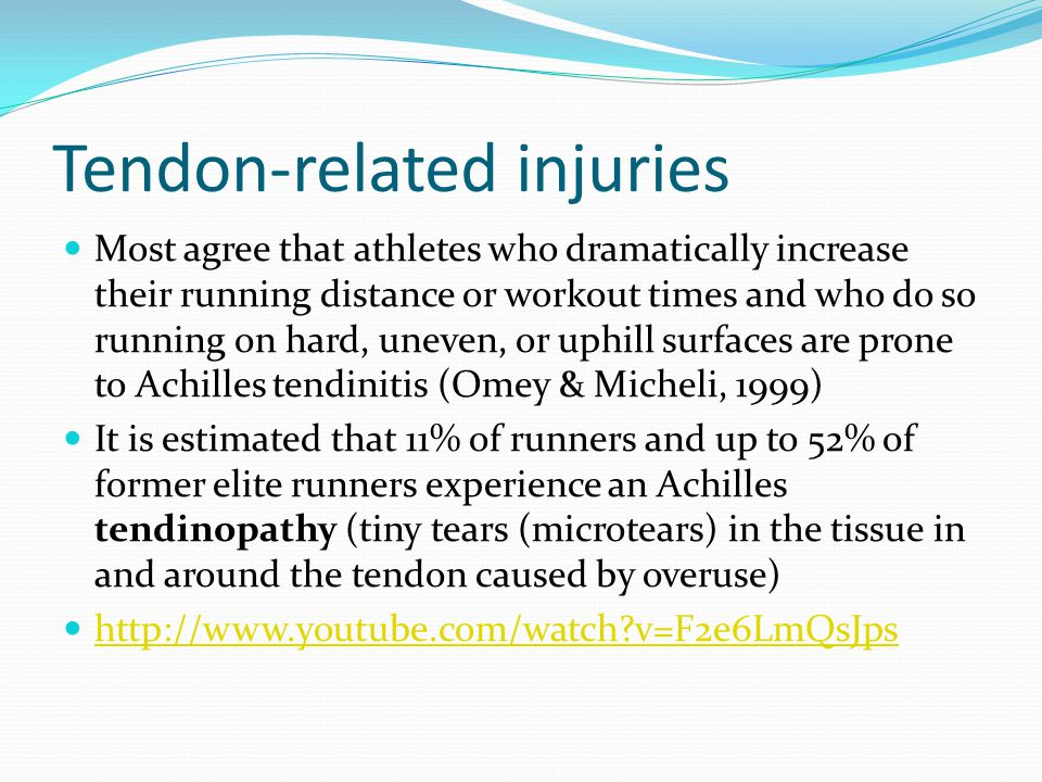 Tendon-related injuries Superficially, Achilles tendinitis can produce an increased temperature in the immediate area; moreover, the tendon is painful on touch and movement and appears thickened This pain associated with this condition is localized to a small area of the tendon and typically intensifies when movement is initiated after rest Can be seen over an extended period of time (days to weeks) Or over a shorter period of time (days)
