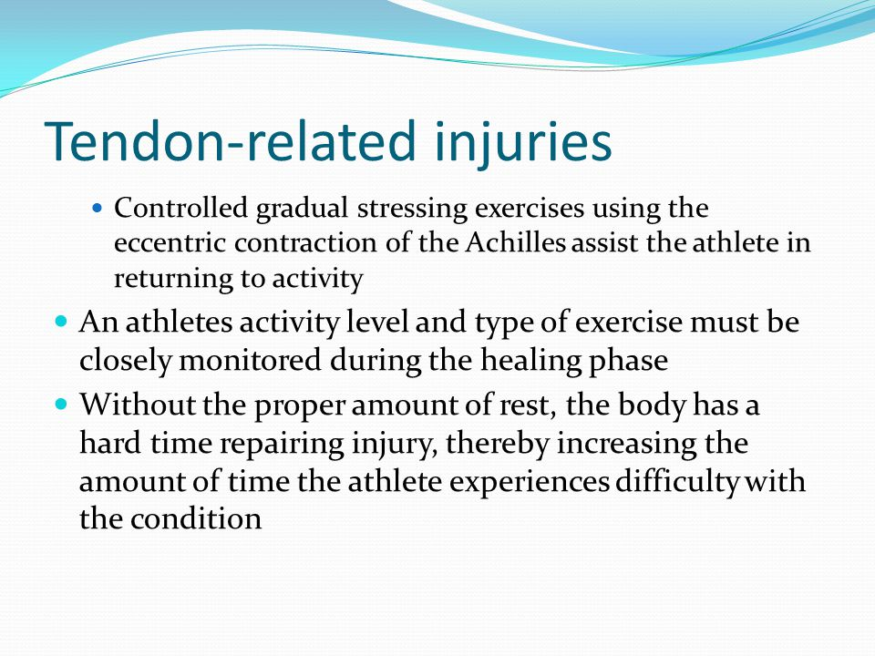 Tendon-related injuries Explosive jumping or direct trauma from some type of impact can cause traumatic injuries to the Achilles tendon by tearing or rupturing the tendon Can occur in many different sports