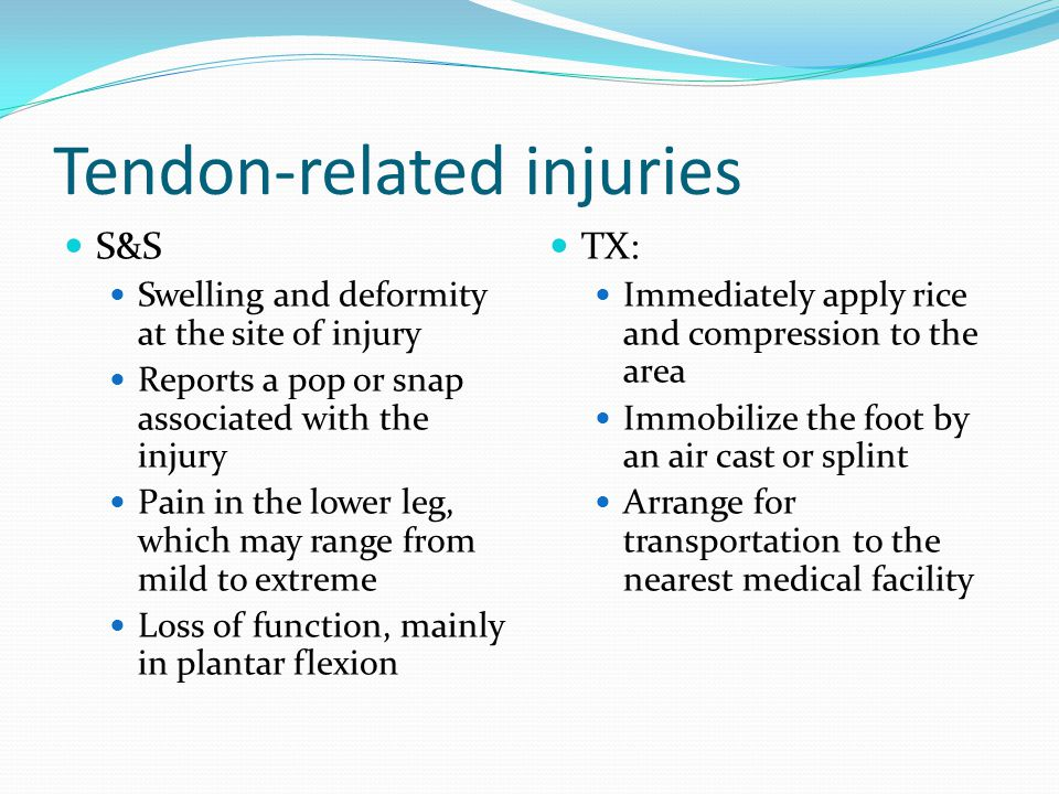 Tendon-related issues During the acute phase of the healing process, minimize dorsiflexion and eliminate forced dorsiflexion This movement can produce more damage and inflammation to the area The long term effects of a ruptured Achilles tendon depend on the severity or completeness of the rupture If surgery is necessary, the athlete will most likely be out of commission for the rest of the season The athlete will need to be careful and aware of the value of stretching and warming up