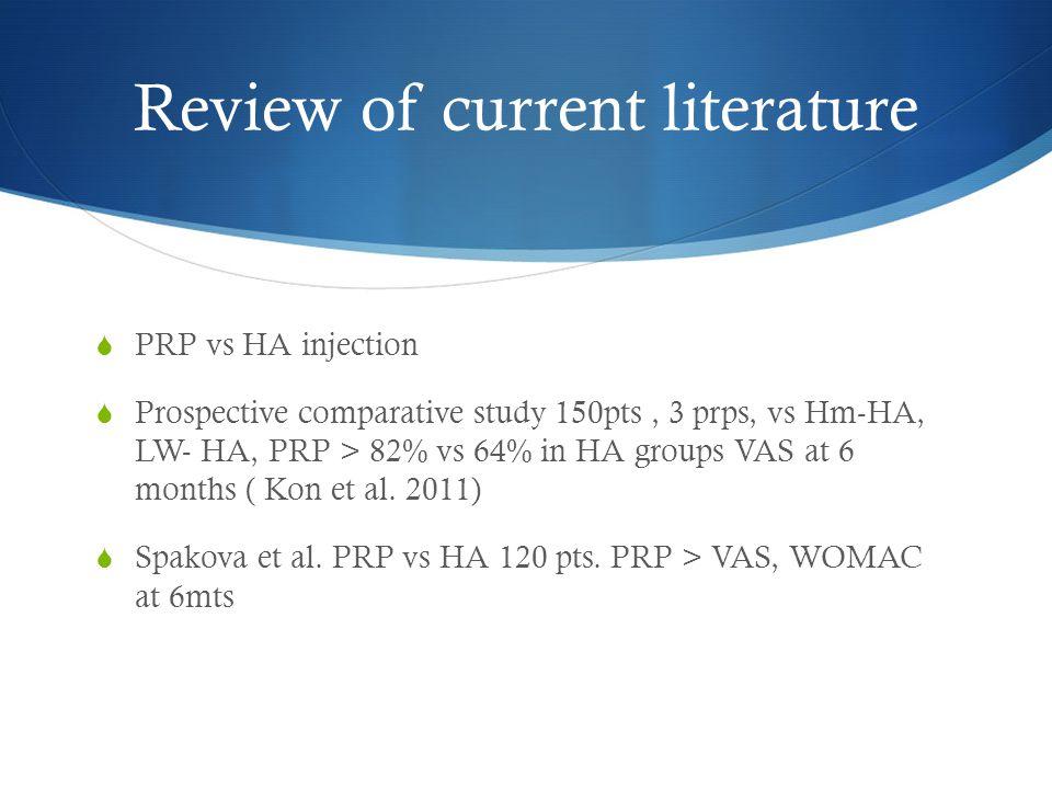 Review of current literature  PRP vs HA injection  Prospective comparative study 150pts, 3 prps, vs Hm-HA, LW- HA, PRP > 82% vs 64% in HA groups VAS
