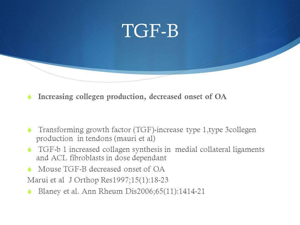 TGF-B  Increasing collegen production, decreased onset of OA  Transforming growth factor (TGF)-increase type 1,type 3collegen production in tendons