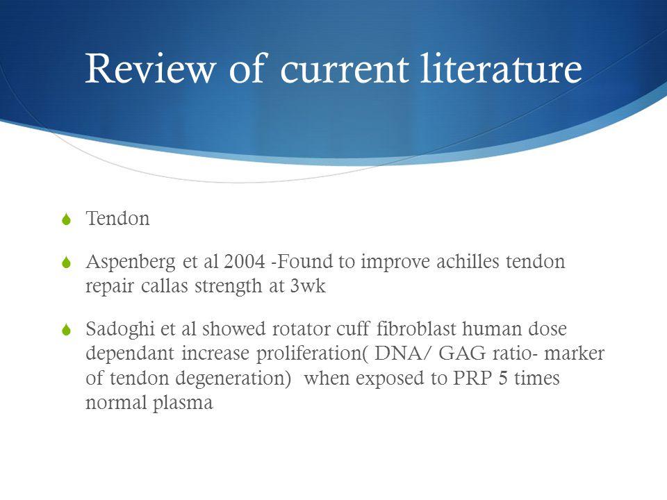 Review of current literature  Tendon  Aspenberg et al 2004 -Found to improve achilles tendon repair callas strength at 3wk  Sadoghi et al showed ro