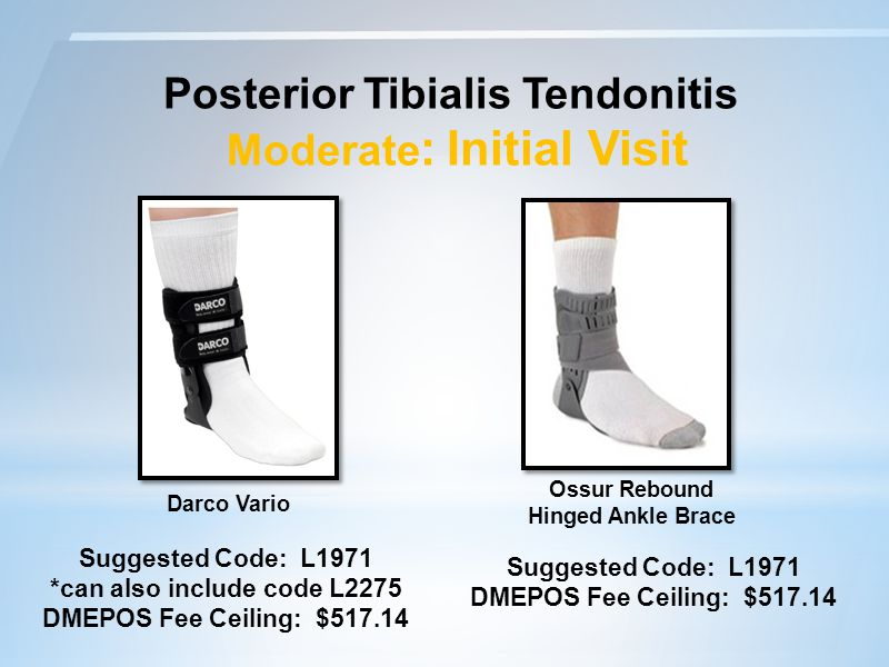 Posterior Tibialis Tendonitis Moderate : Initial Visit Suggested Code: L1971 DMEPOS Fee Ceiling: $517.14 Ossur Rebound Hinged Ankle Brace Darco Vario Suggested Code: L1971 *can also include code L2275 DMEPOS Fee Ceiling: $517.14