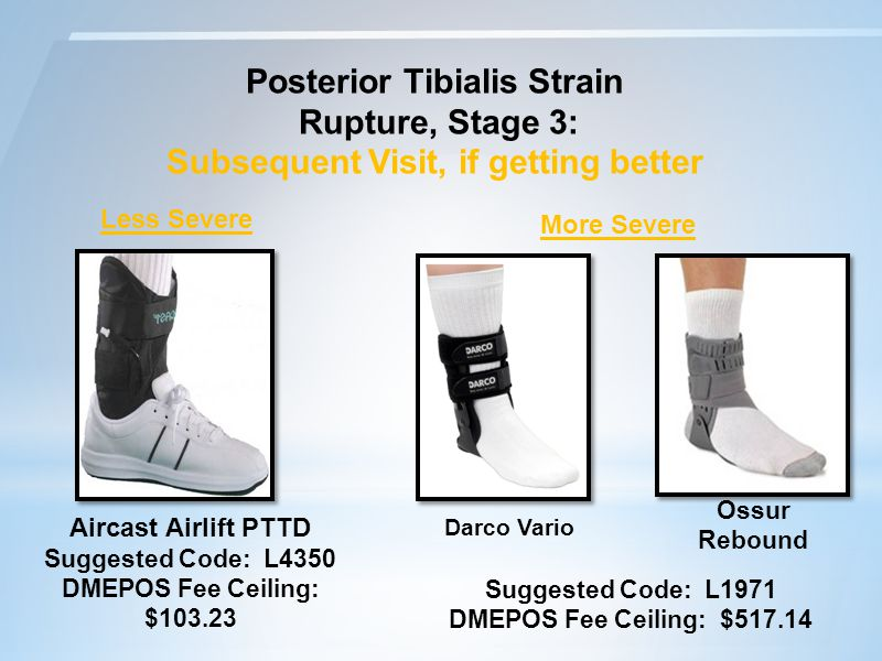 Posterior Tibialis Strain Rupture, Stage 3: Subsequent Visit, if getting better Aircast Airlift PTTD Suggested Code: L4350 DMEPOS Fee Ceiling: $103.23 Less Severe Darco Vario More Severe Ossur Rebound Suggested Code: L1971 DMEPOS Fee Ceiling: $517.14