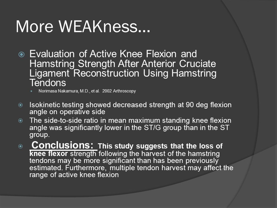 More WEAKness…  Evaluation of Active Knee Flexion and Hamstring Strength After Anterior Cruciate Ligament Reconstruction Using Hamstring Tendons Nori