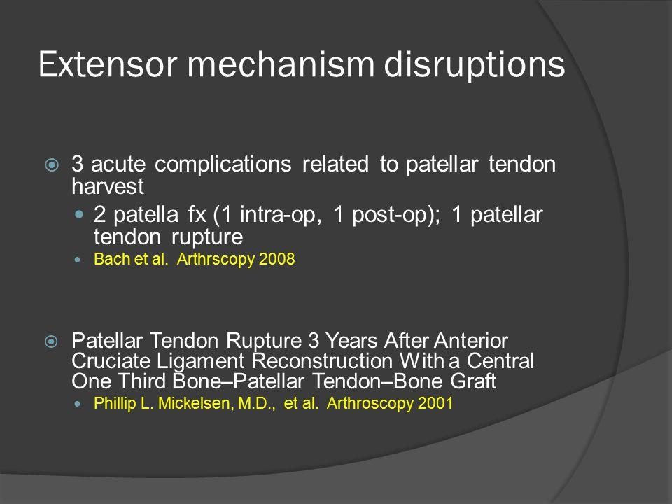 Extensor mechanism disruptions  3 acute complications related to patellar tendon harvest 2 patella fx (1 intra-op, 1 post-op); 1 patellar tendon rupt