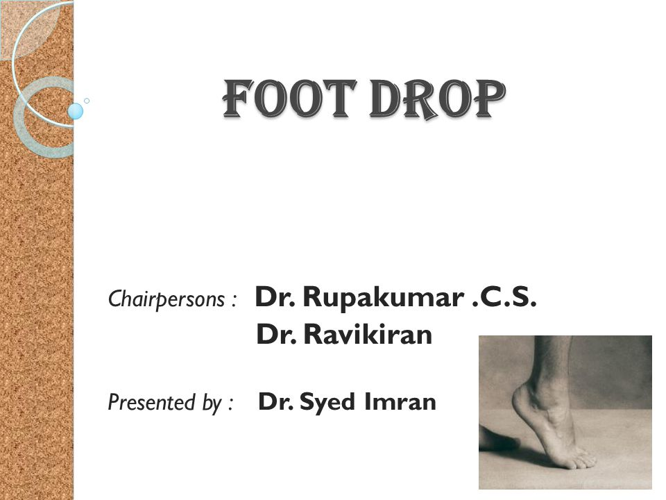 Foot Drop Foot Drop Chairpersons : Dr. Rupakumar.C.S. Dr. Ravikiran Presented by : Dr. Syed Imran