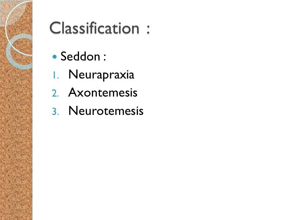 Classification : Seddon : 1. Neurapraxia 2. Axontemesis 3. Neurotemesis