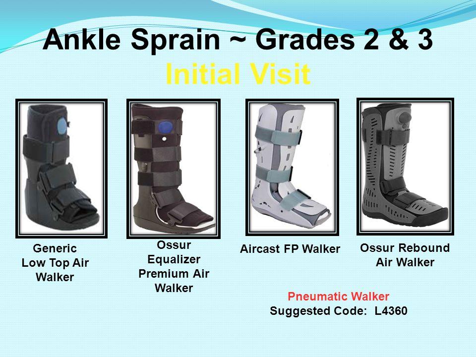 Ankle Sprain ~ Grades 2 & 3 Initial Visit Pneumatic Walker Suggested Code: L4360 Aircast FP Walker Ossur Rebound Air Walker Generic Low Top Air Walker
