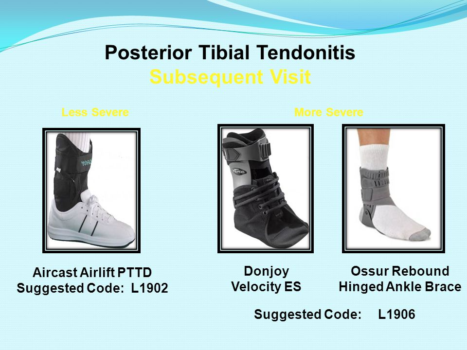 Posterior Tibial Tendonitis Subsequent Visit Aircast Airlift PTTD Suggested Code: L1902 Less Severe Donjoy Velocity ES More Severe Ossur Rebound Hinged Ankle Brace Suggested Code: L1906