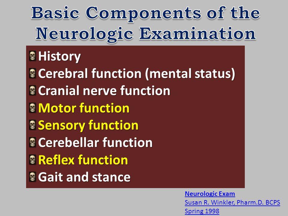 History Cerebral function (mental status) Cranial nerve function Motor function Sensory function Cerebellar function Reflex function Gait and stance Neurologic Exam Susan R.