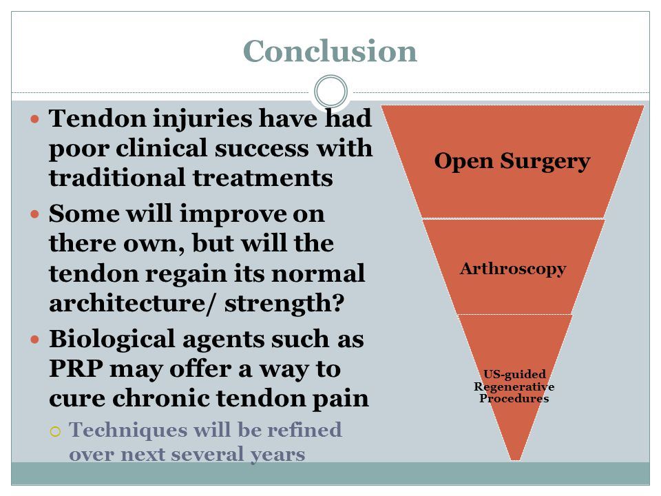 Conclusion Tendon injuries have had poor clinical success with traditional treatments Some will improve on there own, but will the tendon regain its normal architecture/ strength.