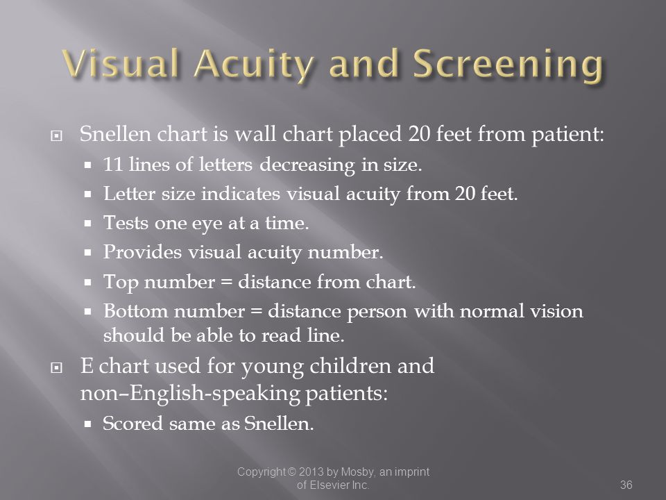  Snellen chart is wall chart placed 20 feet from patient:  11 lines of letters decreasing in size.  Letter size indicates visual acuity from 20 fee