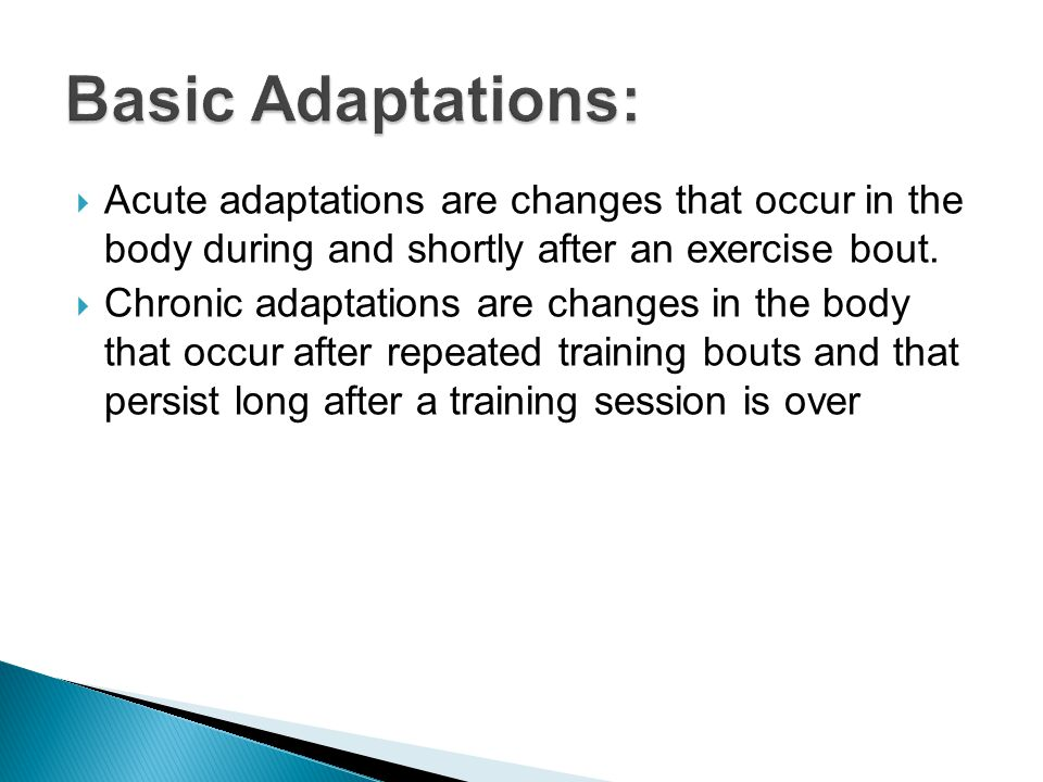  Acute adaptations are changes that occur in the body during and shortly after an exercise bout.