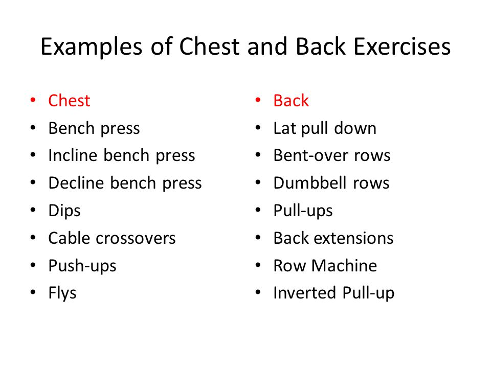 Examples of Chest and Back Exercises Chest Bench press Incline bench press Decline bench press Dips Cable crossovers Push-ups Flys Back Lat pull down Bent-over rows Dumbbell rows Pull-ups Back extensions Row Machine Inverted Pull-up