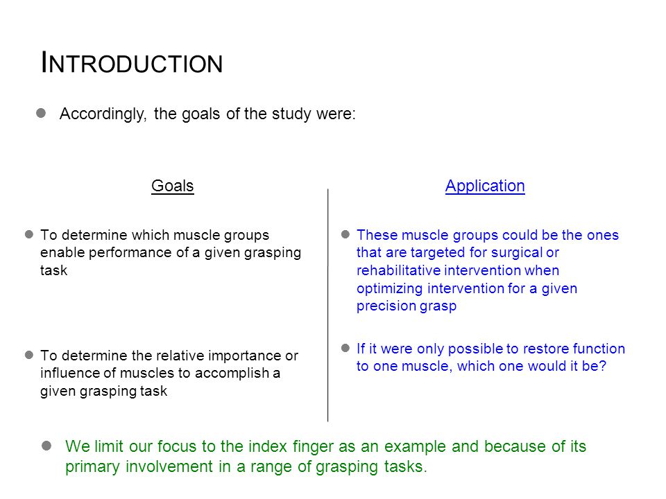 I NTRODUCTION Accordingly, the goals of the study were: These muscle groups could be the ones that are targeted for surgical or rehabilitative interve