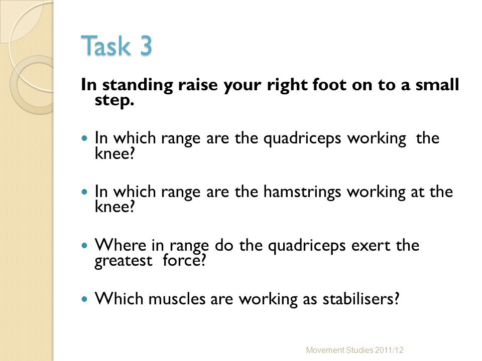 Task 3 In standing raise your right foot on to a small step.