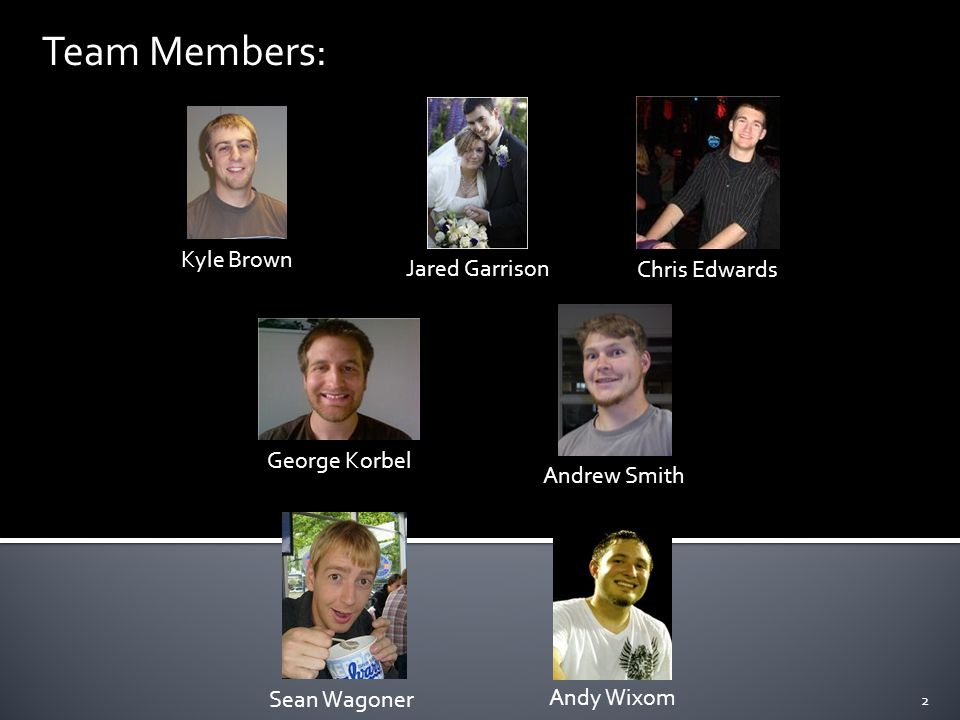 Kyle Brown Jared Garrison Chris Edwards George Korbel Sean Wagoner Andrew Smith Andy Wixom Team Members: 2