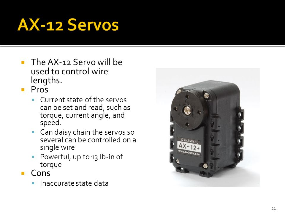  The AX-12 Servo will be used to control wire lengths.