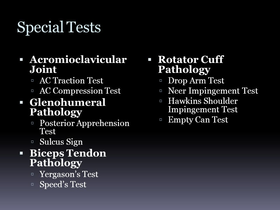 Special Tests  Acromioclavicular Joint  AC Traction Test  AC Compression Test  Glenohumeral Pathology  Posterior Apprehension Test  Sulcus Sign  Biceps Tendon Pathology  Yergason's Test  Speed's Test  Rotator Cuff Pathology  Drop Arm Test  Neer Impingement Test  Hawkins Shoulder Impingement Test  Empty Can Test