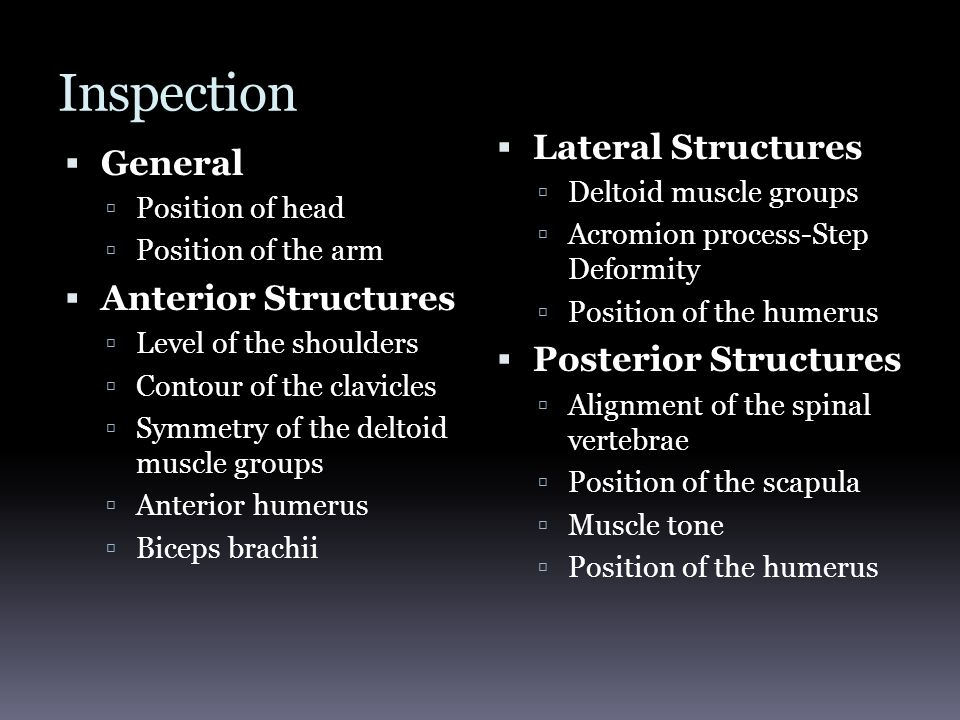 Inspection  General  Position of head  Position of the arm  Anterior Structures  Level of the shoulders  Contour of the clavicles  Symmetry of the deltoid muscle groups  Anterior humerus  Biceps brachii  Lateral Structures  Deltoid muscle groups  Acromion process-Step Deformity  Position of the humerus  Posterior Structures  Alignment of the spinal vertebrae  Position of the scapula  Muscle tone  Position of the humerus
