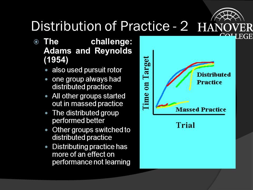 Distribution of Practice  The classic experiment: Dore and Hilgard (1937).