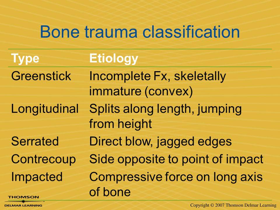 Bone trauma classification TypeEtiology GreenstickIncomplete Fx, skeletally immature (convex) LongitudinalSplits along length, jumping from height Ser