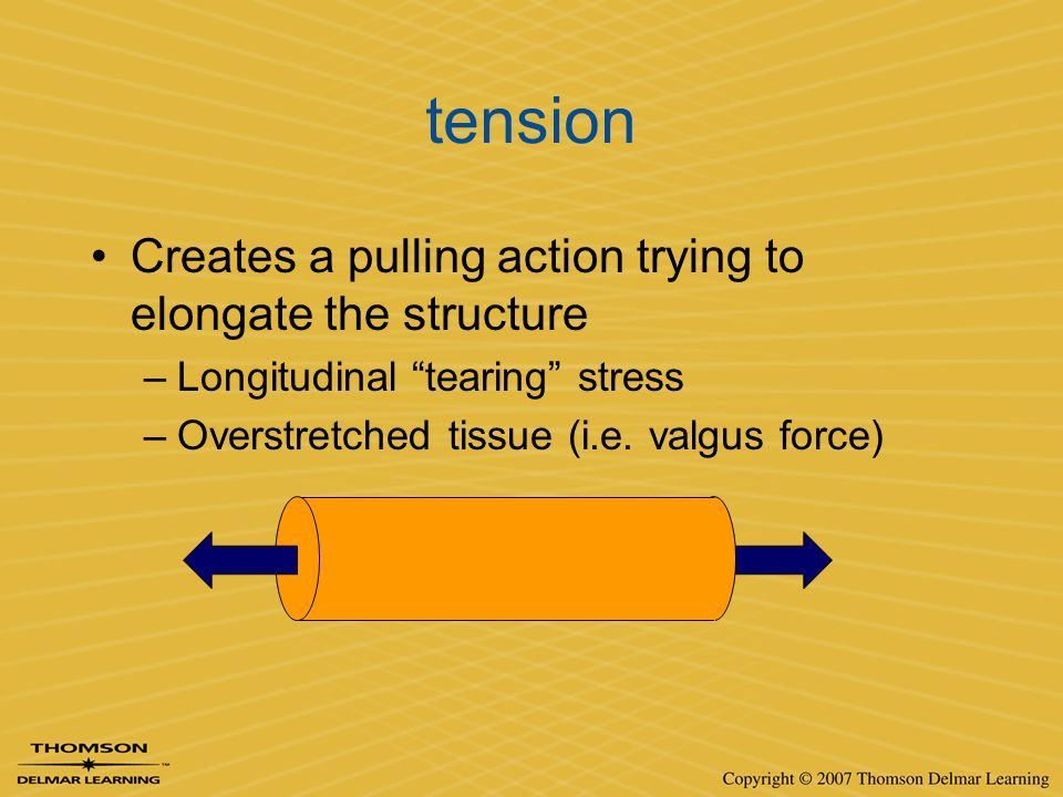 """tension Creates a pulling action trying to elongate the structure –Longitudinal """"tearing"""" stress –Overstretched tissue (i.e. valgus force)"""