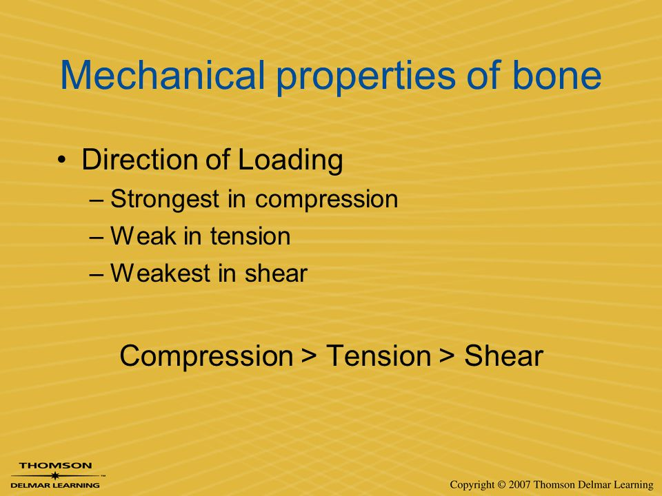 Mechanical properties of bone Direction of Loading –Strongest in compression –Weak in tension –Weakest in shear Compression > Tension > Shear