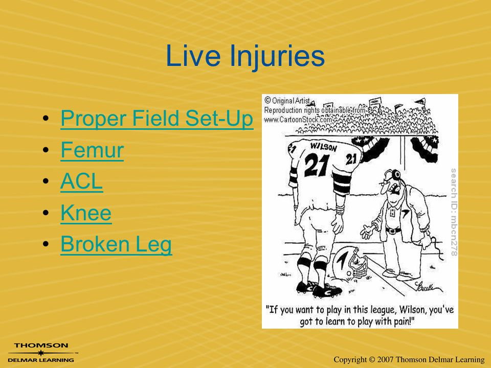 Live Injuries Proper Field Set-Up Femur ACL Knee Broken Leg