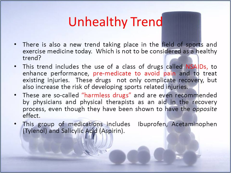 Unhealthy Trend There is also a new trend taking place in the field of sports and exercise medicine today. Which is not to be considered as a healthy