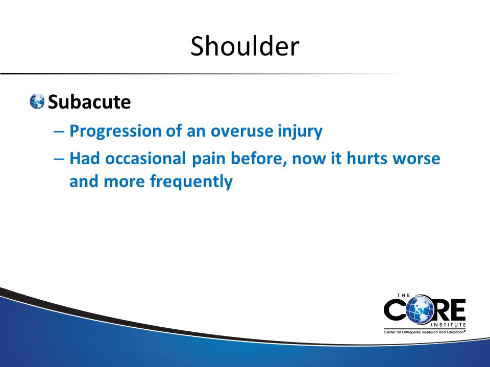 Shoulder Subacute – Progression of an overuse injury – Had occasional pain before, now it hurts worse and more frequently