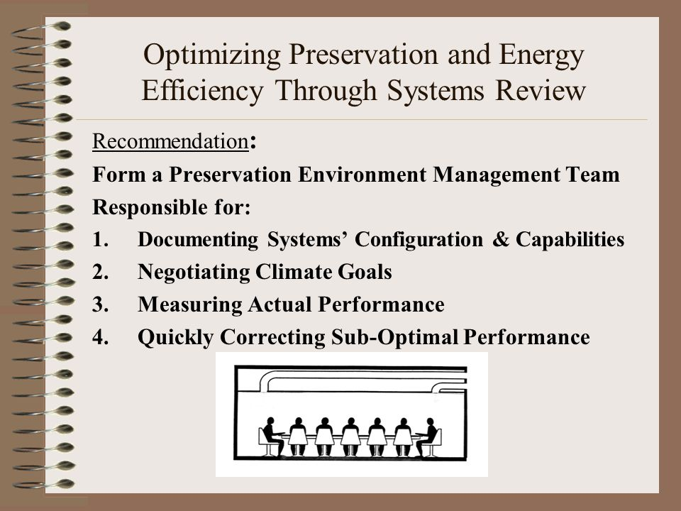 Optimizing Preservation and Energy Efficiency Through Systems Review Recommendation : Form a Preservation Environment Management Team Responsible for: