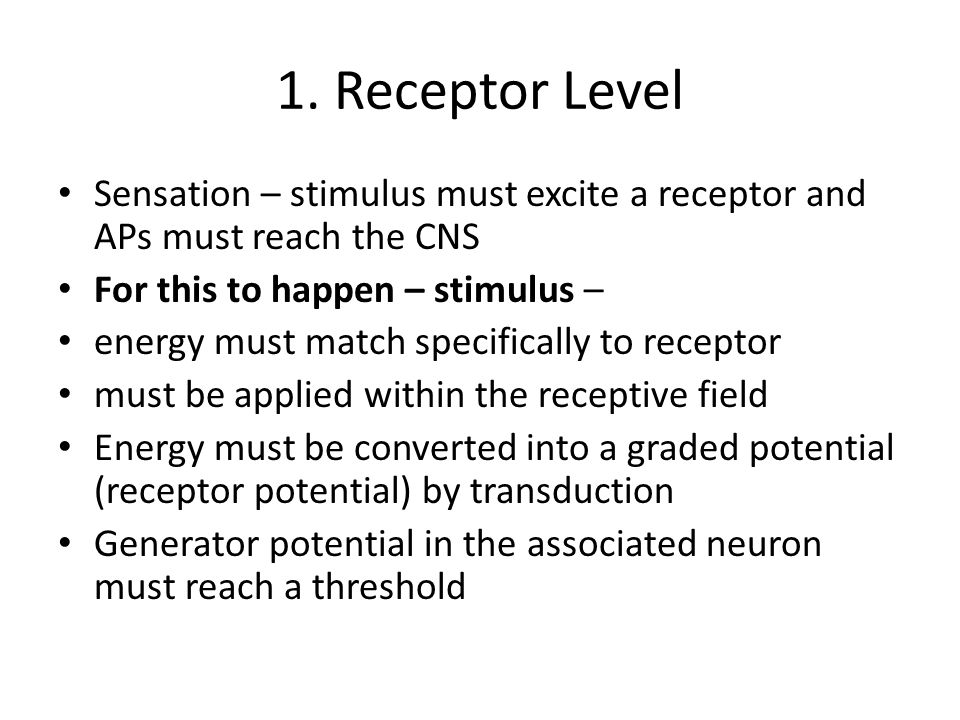 1. Receptor Level Sensation – stimulus must excite a receptor and APs must reach the CNS For this to happen – stimulus – energy must match specificall