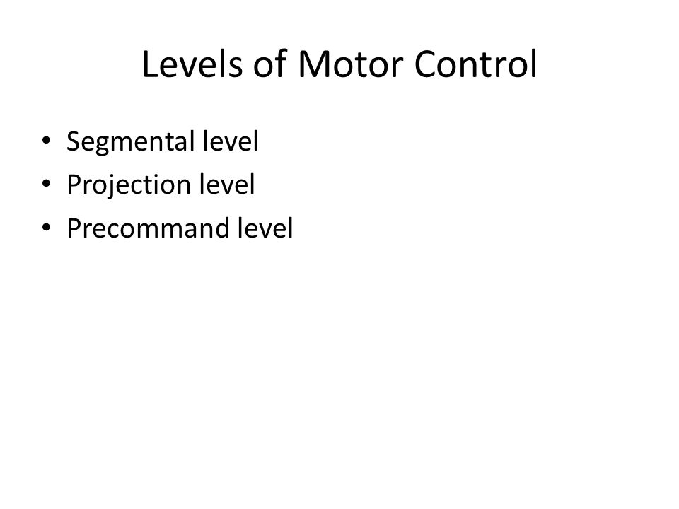 Levels of Motor Control Segmental level Projection level Precommand level