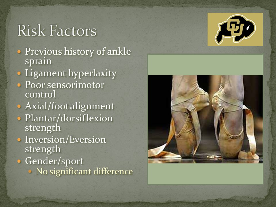 Previous history of ankle sprain Ligament hyperlaxity Poor sensorimotor control Axial/foot alignment Plantar/dorsiflexion strength Inversion/Eversion