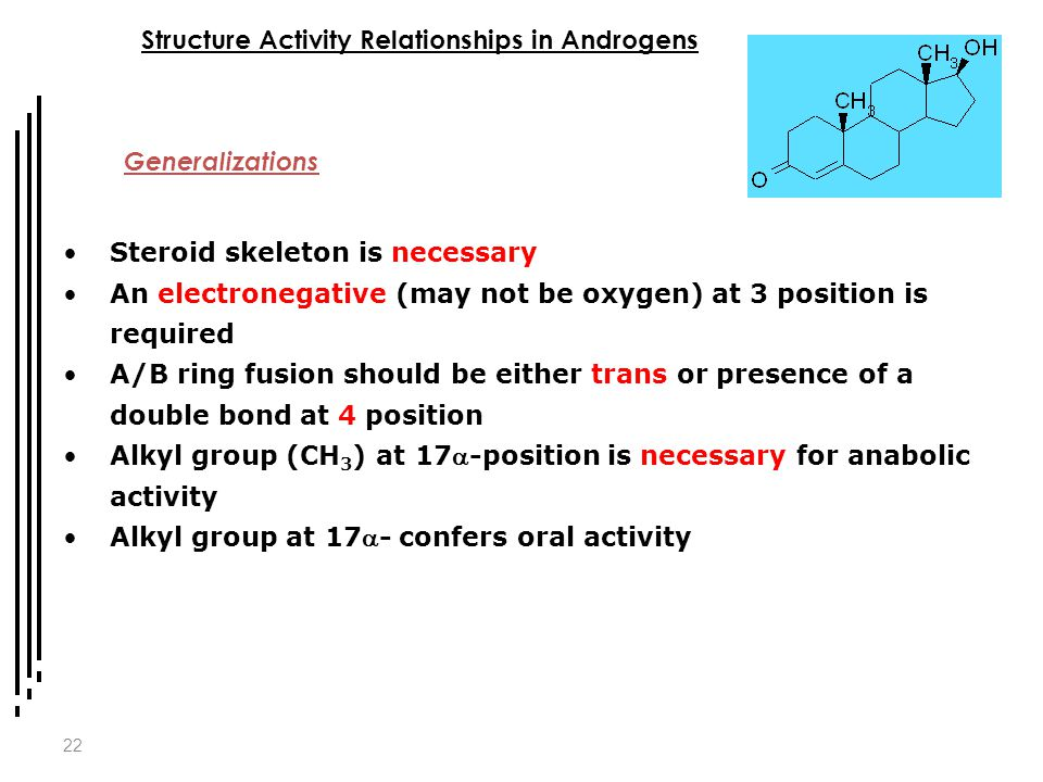 22 Structure Activity Relationships in Androgens Generalizations Steroid skeleton is necessary An electronegative (may not be oxygen) at 3 position is