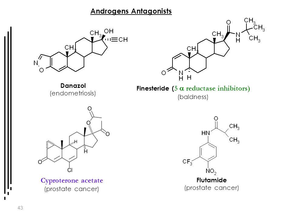 43 Androgens Antagonists Danazol (endometriosis) Finesteride ( 5  reductase inhibitors) (baldness) Cyproterone acetate (prostate cancer) Flutamide (p