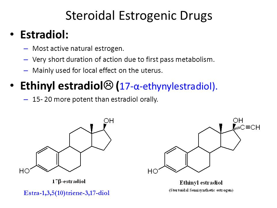 Nonsteroidal Estrogens 1.Diethylstilbesterol: – The trans form is the active one.