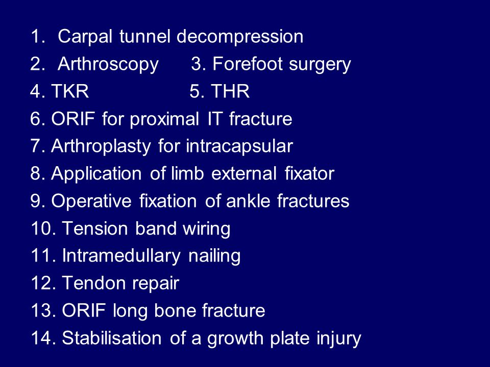 1.Carpal tunnel decompression 2.Arthroscopy 3. Forefoot surgery 4.
