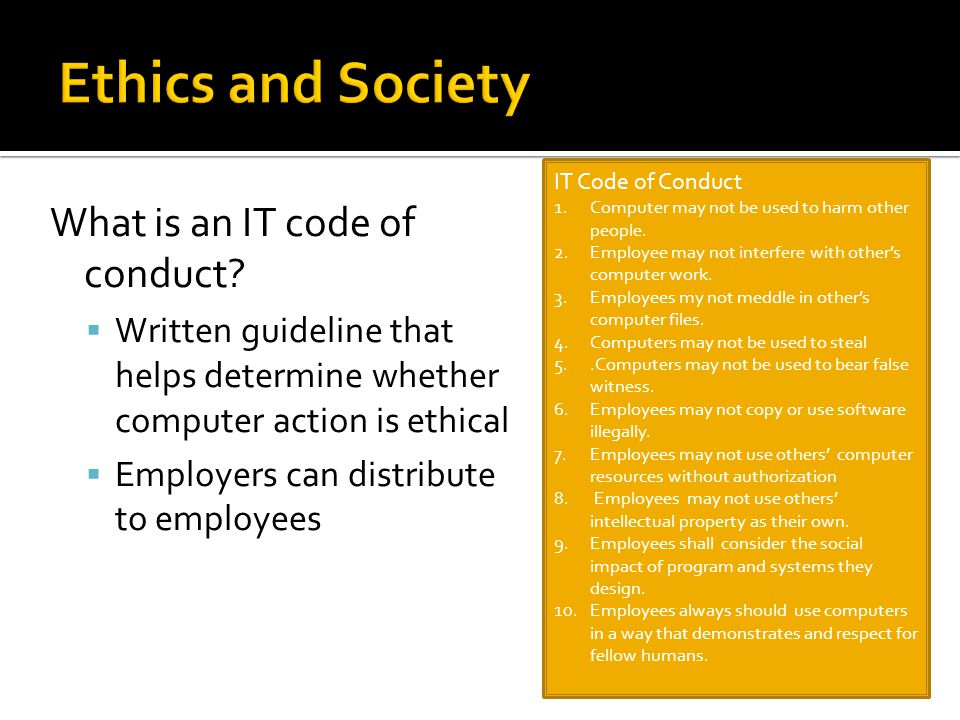 What is an IT code of conduct.