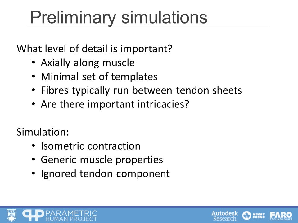 Preliminary simulations What level of detail is important.