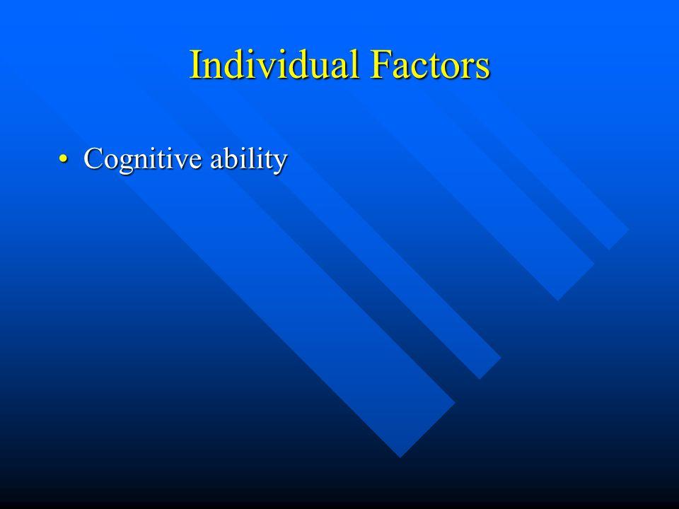 Individual Factors Cognitive abilityCognitive ability AnthropometricsAnthropometrics