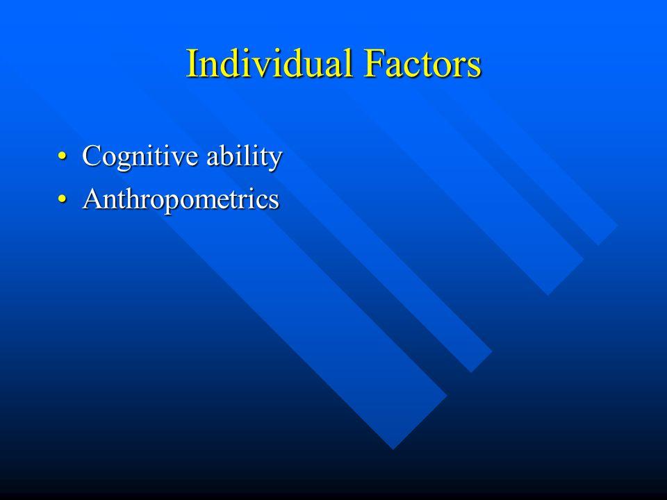 Individual Factors Cognitive abilityCognitive ability AnthropometricsAnthropometrics Psychological statePsychological state