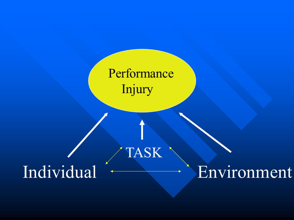 TASK Performance Injury EnvironmentIndividual Modulated by force: described by mechanics
