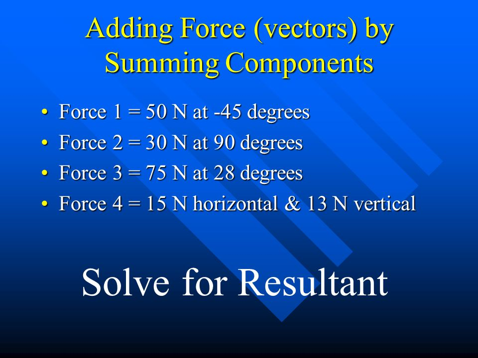 Adding Force (vectors) by Summing Components Force 1 = 50 N at -45 degreesForce 1 = 50 N at -45 degrees Force 2 = 30 N at 90 degreesForce 2 = 30 N at 90 degrees Force 3 = 75 N at 28 degreesForce 3 = 75 N at 28 degrees Force 4 = 15 N horizontal & 13 N verticalForce 4 = 15 N horizontal & 13 N vertical Solve for Resultant